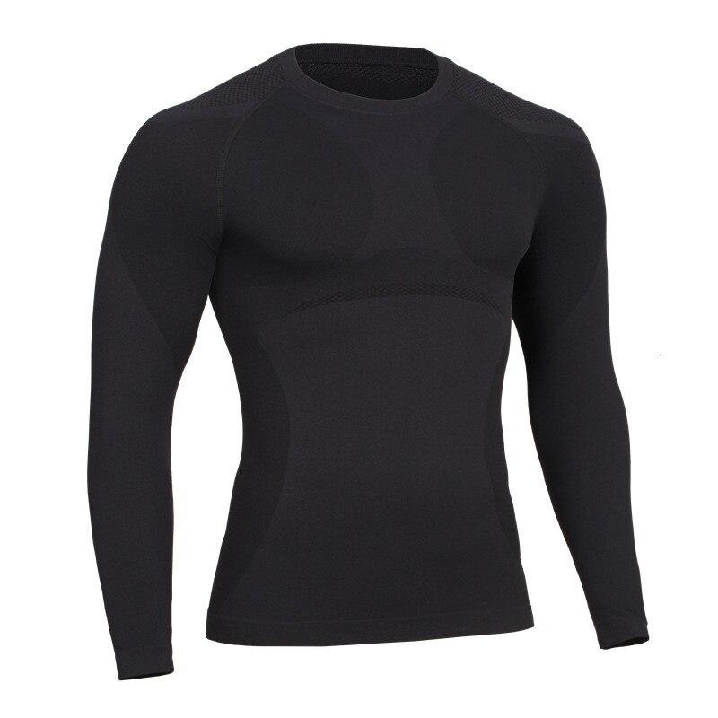 Nový prodej Fitness muži s dlouhým rukávem trička Mužské termální svalové kulturistika cvičení kompresní punčocháče cvičení Tees