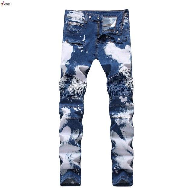 Men Designer Patchwork Jeans European Style Repaired Distressed Paint  Carpenter Jeans Mens Luxury Slim Ripped Denim Jeans 2bffaac48