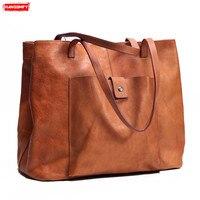 Женские сумки ручной работы из натуральной кожи, в стиле ретро, большой емкости, многослойные, из мягкой кожи, женские сумки через плечо