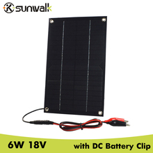 SUNWALK 2pcs 6W 18V Semi Flexible Solar Panel with DC Battery Clip Monocrystalline silicon Solar Car Charger for 12V Battery