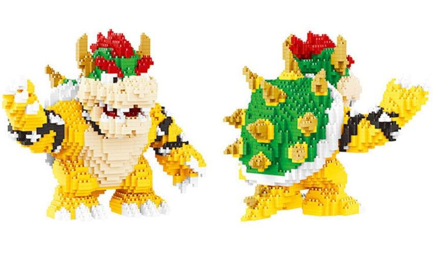 Image 2 - Game Super Marioing Bowser Turtle stitch Animal Monster 3D Model DIY Diamond Mini Building Blocks Bricks Toy 2300pcs-in Blocks from Toys & Hobbies