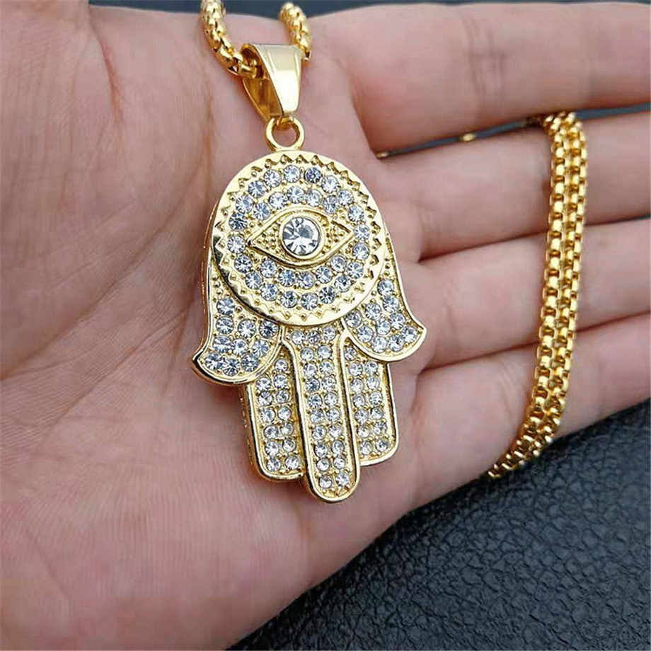 Turkish Evil Eye Hamsa Hand of Fatima Pendant Necklace Gold Stainless Steel Iced Out Pendant & Chain Hip Hop Women/Men Jewelry