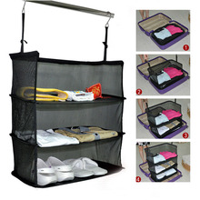 3 Layers Portable Travel Storage Bag Hook Hanging Nylon Mesh Organizer Wardrobe Clothes Shoes Rack Holder