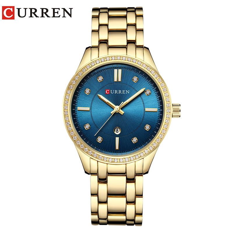 CURREN Womens Watch Rhinestone Quartz Watch New Fashion Stainless Steel Gold Bracelet Gem Green Dial Female Clock Montre Femme  CURREN Womens Watch Rhinestone Quartz Watch New Fashion Stainless Steel Gold Bracelet Gem Green Dial Female Clock Montre Femme