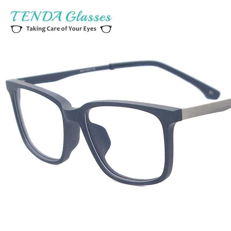 TendaGlasses Men Square Prescription Glasses Frames Acetate Wooden Texture Rectangular Eyewear For Myopia & Presbyopia Lenses