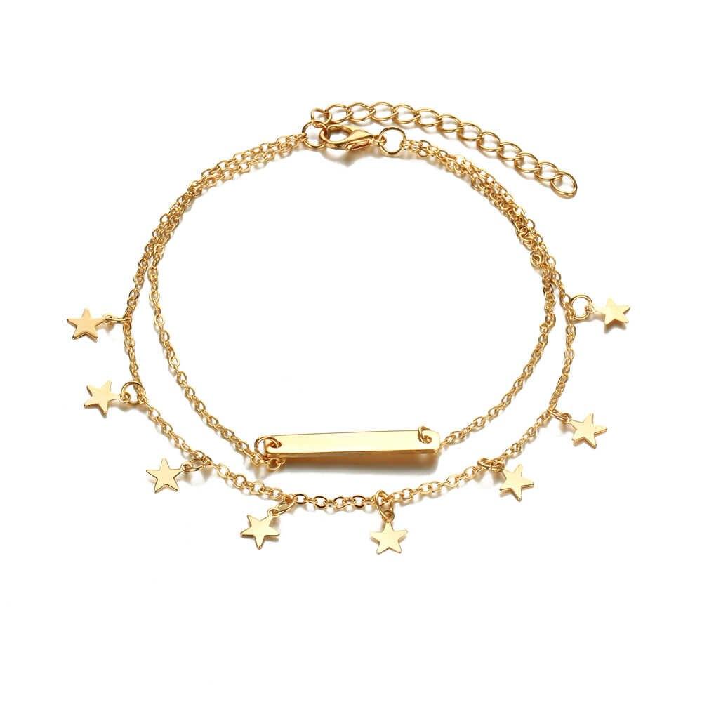В богемском стиле, золотистого цвета звезды подвесные ножные браслеты для женщин Мода многоярусный браслет на ногу модные ноги ювелирные украшения в подарок