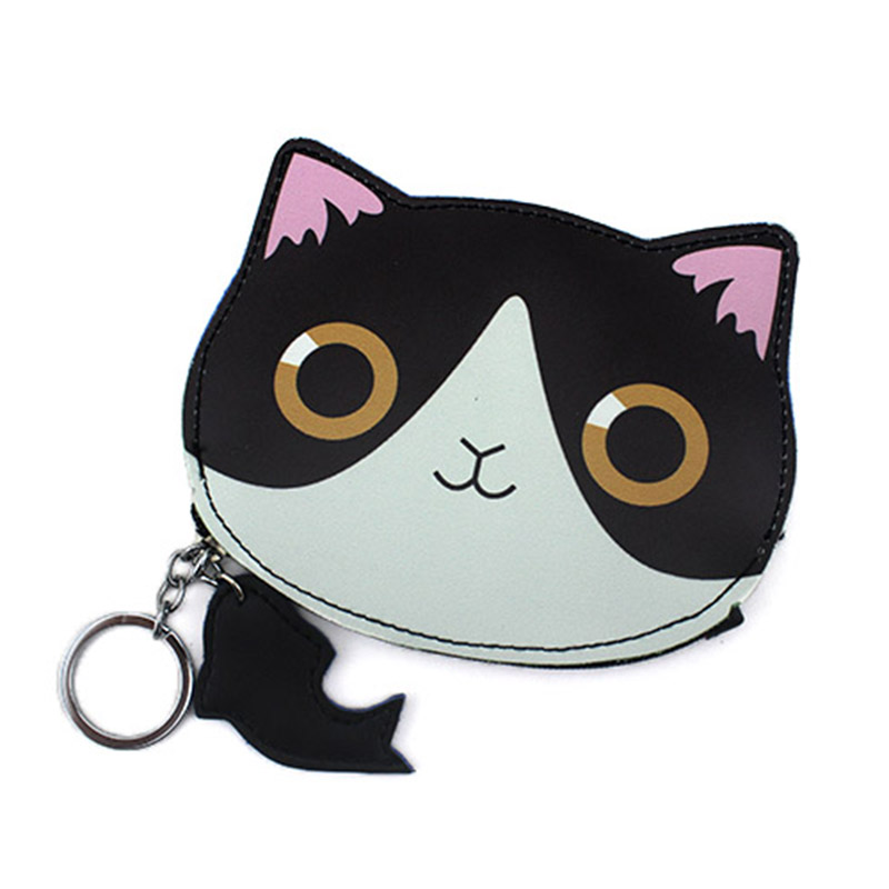 2017 High Quality Cartoon PU Children Coin Bags Girl Leather Cute Cat & Fish Zipper Change Wallet Card Holder With Key Chain