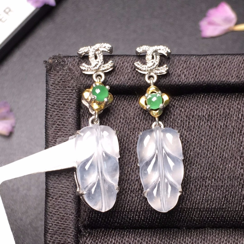 509 Fine Jewelry Real Pure 18 K White Gold AU750 100% Natural Myanmer Jade Gemstones Emeralds Female Drop Earrings for Women509 Fine Jewelry Real Pure 18 K White Gold AU750 100% Natural Myanmer Jade Gemstones Emeralds Female Drop Earrings for Women