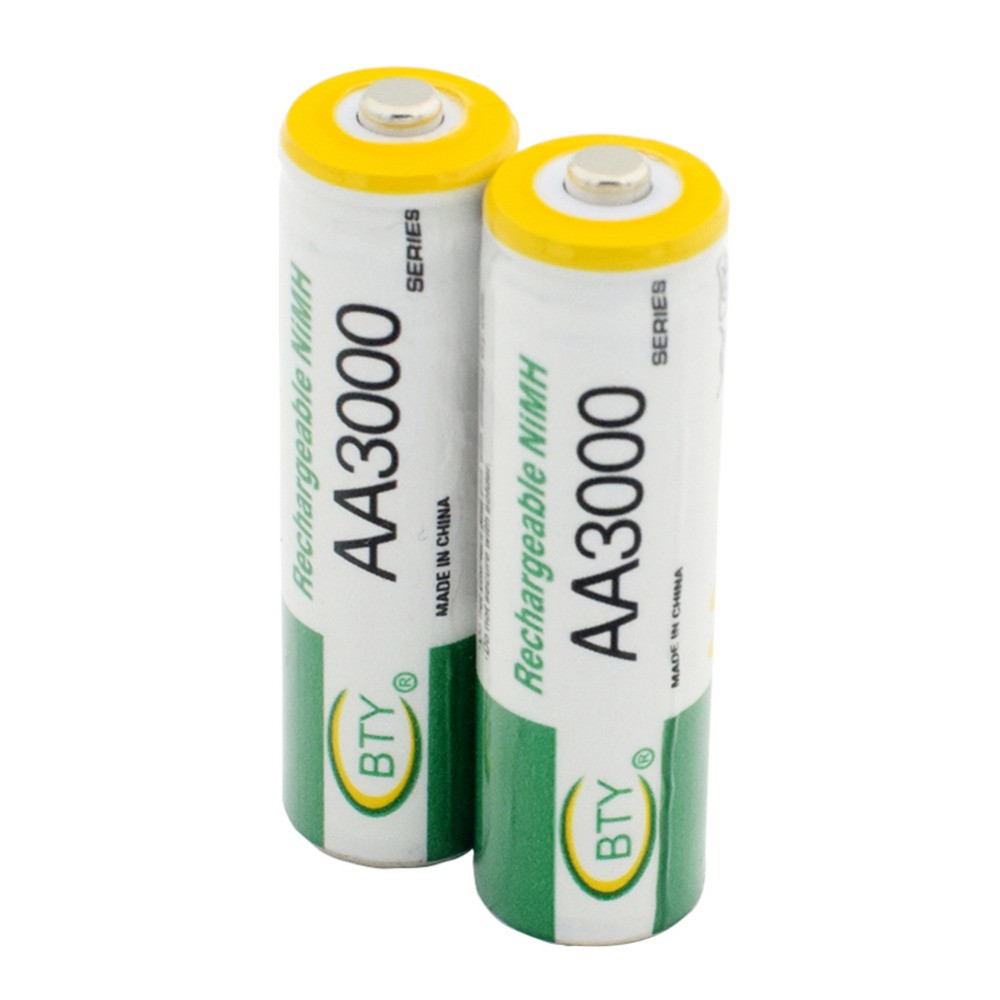 2pcs/lot 1.2V AA Rechargeable Battery High Power High Density 3000mAh AA Rechargeable Nickel Metal Hydride Battery