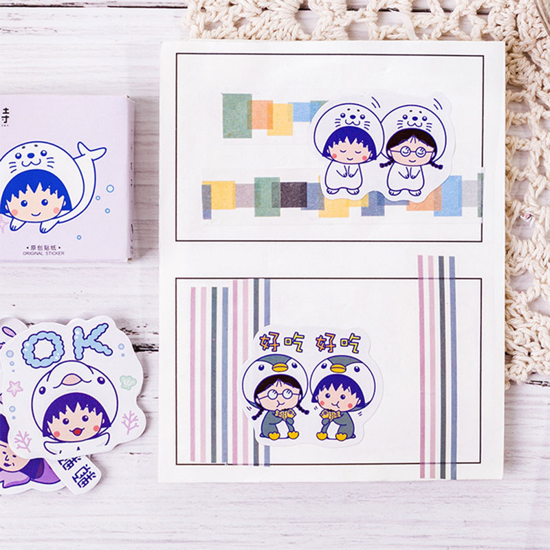 Купить с кэшбэком 45Pcs/box Cartoon little girl school supplies Mini Decoration Paper Sticker DIY Scrapbook Notebook Album Sticker Kawaii Stickers