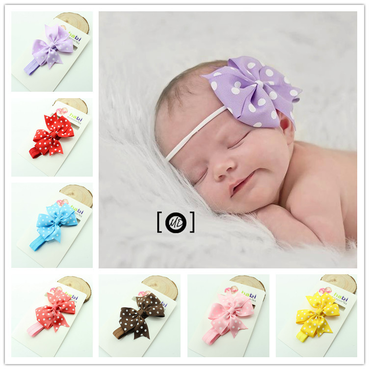 Baby Headband Ribbon Tiara Handmade DIY Toddler Infant Kids Hair Accessories Girl Newborn Bows Dot Turban Elastic bandage baby headband ribbon handmade flower diy toddler infant kid floral hair accessories girl newborn pearl turban elastic rose