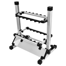 Aluminum Alloy Fishing Rod Display Rack Holder Shelf Bracket 24 Slots Stand Fishing Rod Pole Stand Supporting Rod Tool