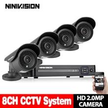 Top Quality! 3000TVL 1080P AHD Indoor Outdoor Waterproof Video Surveillance Night Vision IR CCTV Camera Security 8CH AHD DVR Kit