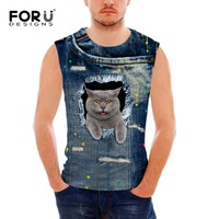FORUDESIGNS Leisure Spandex Jeans Print Men S Tank Tops 3D Breathable Summer Men S Vest Fitness