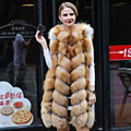 Moda real fox fur coat mujeres Completo Pelt Largo Grueso Caliente genuino natural de Piel de Solid Oneck mangas Chaleco Chica Chaqueta Para mujer