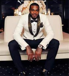 Последние конструкции пальто брюки белого золота нагрудные мужской костюм на выпускной Slim Fit Тощий 2 шт. на заказ костюмы жениха пиджаки для