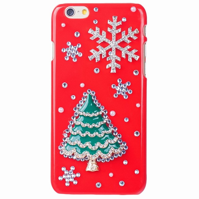 new fashion christmas 3d crystal plastic case for iphone hard cover phone cases for samsung christmas