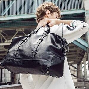 Image 5 - 男性のハンドバッグの革大容量トラベルバッグファッションショルダーバッグ男性トラベルダッフルトートバッグカジュアルメッセンジャークロスボディバッグ