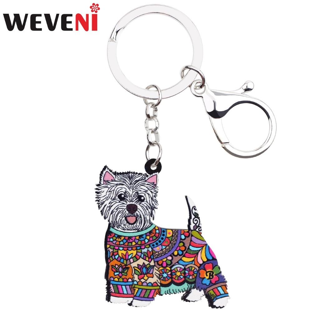 WEVENI Acrylic Anime Jewelry West Highland White Terrier Keyring For Women Girl Bag Car Key Handbag Wallet Charms Keychains GIFT