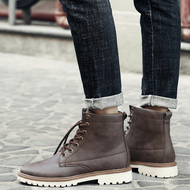 Cow Leather Boots Men Ankle Boots For Autumn Spring Fashion Casual Shoes New Low Lace Up Shoes botas hombre UBA214 fashion men s formal martin boots mens leather ankle boots lace up male boots footwear botas hombre spring autumn winter shoe
