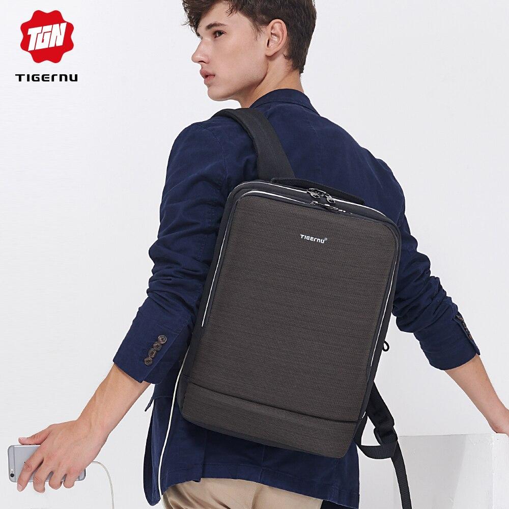 Tigernu Business sac à dos ordinateur portable homme sacs à dos réfléchissant résistant à l'eau avec chargement USB casque Port sac à dos Mochila