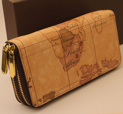 World Map Purse Double Zipper Large Capacity Long Section Genuine
