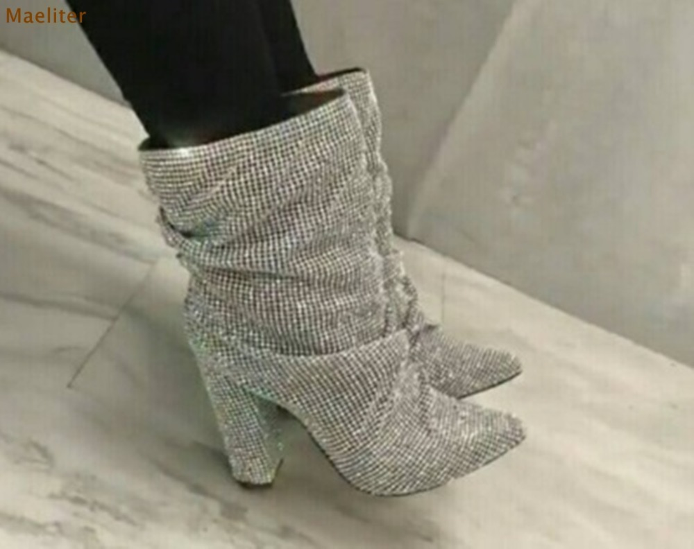 2018 Newest Design Pointed Toe Bling Bling Crystal Boots Chunky Heels Mid-calf Dress Boots Silver Black Rhinestone Wedding Shoes double buckle cross straps mid calf boots