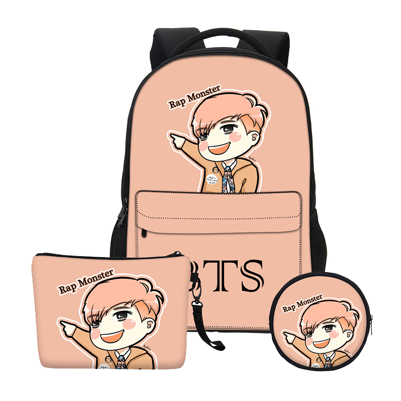 VEEVANV 2018New Gils Bookbag School Bags Set Women BTS Cartoon Organizer Printing Notebook Children Backpacks Boys Shoulder Bags