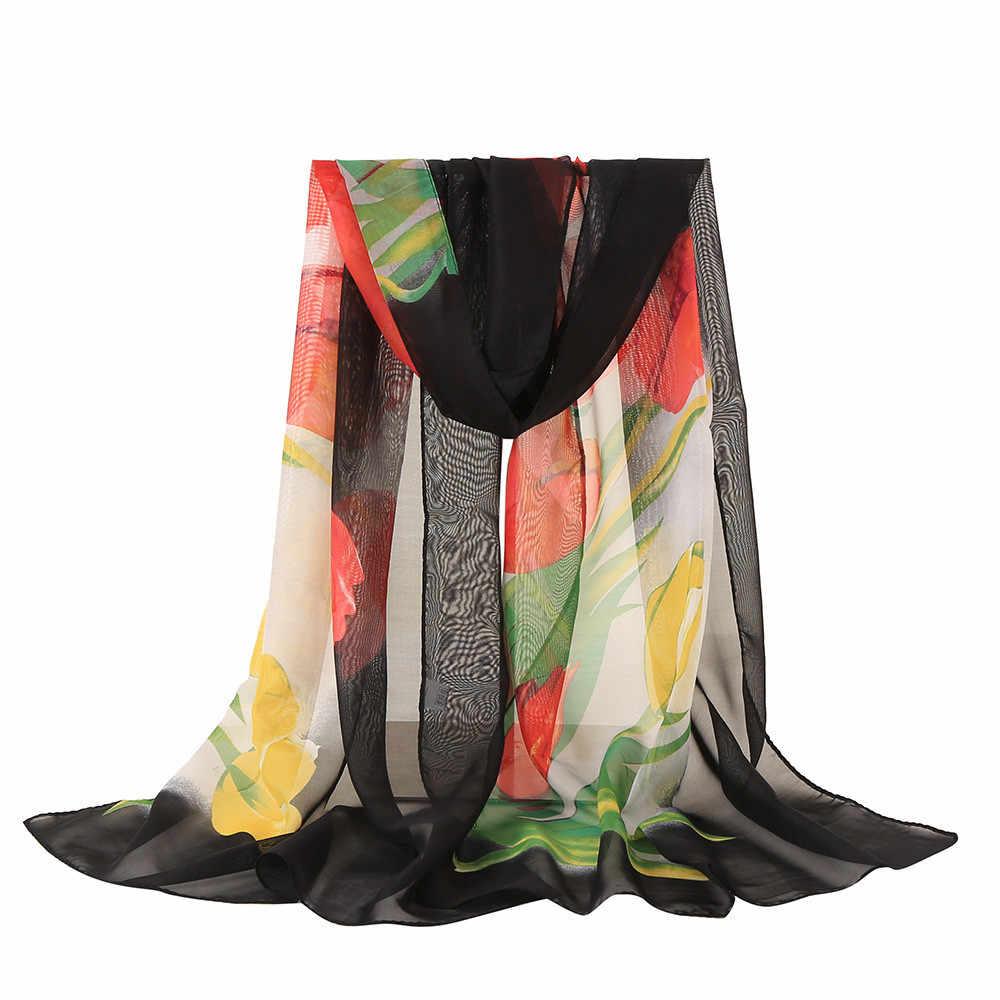 KANCOOLD femenino bufanda mujeres bufanda de seda de la bufanda de las mujeres floral de la impresión de flor largo suave chal velo S10 SE27