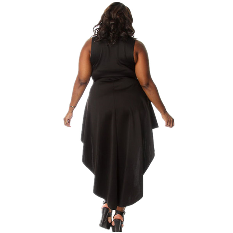 1525b547f395 Cfanny 2016 New Women Summer Dress Plus Size XXXL Sexy Mock Neck High Low  Curvy Black Dress Ladies Sleeveless Club Party Dress-in Dresses from Women s  ...