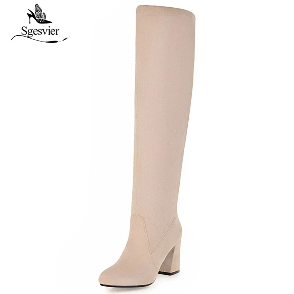 Sgesvier Women Boots 2018 Autumn Winter Fashion Ladies Sexy Over Knee High Boots Thick High Heels Flock Women Long shoes OX650 new bottes femmes 2015 calzado mujer autumn winter knee high boots suede womens chunky thick heels sexy fashion winter boots