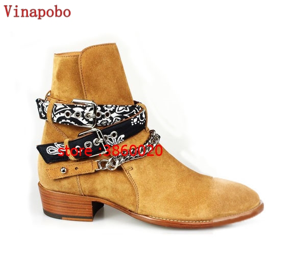 Chelsea boot man suede leather boots pointed toe buckle casual shoe ankle boots metal sliver chains