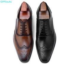 QYFCIOUFU 2019 Handmade Designer Fashion Oxford Shoes Luxury Wedding Male Brogue Genuine Leather Vintage Men Dress