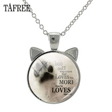 TAFREE Love Dog Jewelry Animal Pet Dogs Ear Pendant Necklace Glass Cabochon Charms Necklaces For Friends Birthday Gift A121
