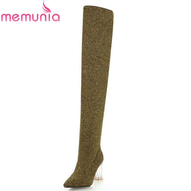 MEMUNIA 2018 new fashion sexy thigh high boots women pointed toe autumn winter boots zipper elegant over the knee boots shoes стоимость