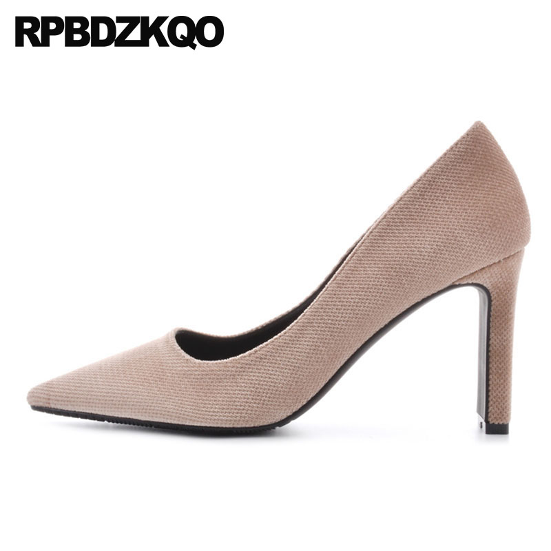 Pumps High Heels Size 4 34 Court 33 Pointed Toe Suede Nude Formal Elegant Office Shoes Women Chunky Classic Black 2018 3 InchPumps High Heels Size 4 34 Court 33 Pointed Toe Suede Nude Formal Elegant Office Shoes Women Chunky Classic Black 2018 3 Inch
