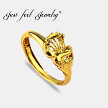 JUST FEEL New Gold Color Animal Rings For Women Copper Peacock Hollow Adjustable Size Wedding Ring India Elegant Jewelry Anillos(China)