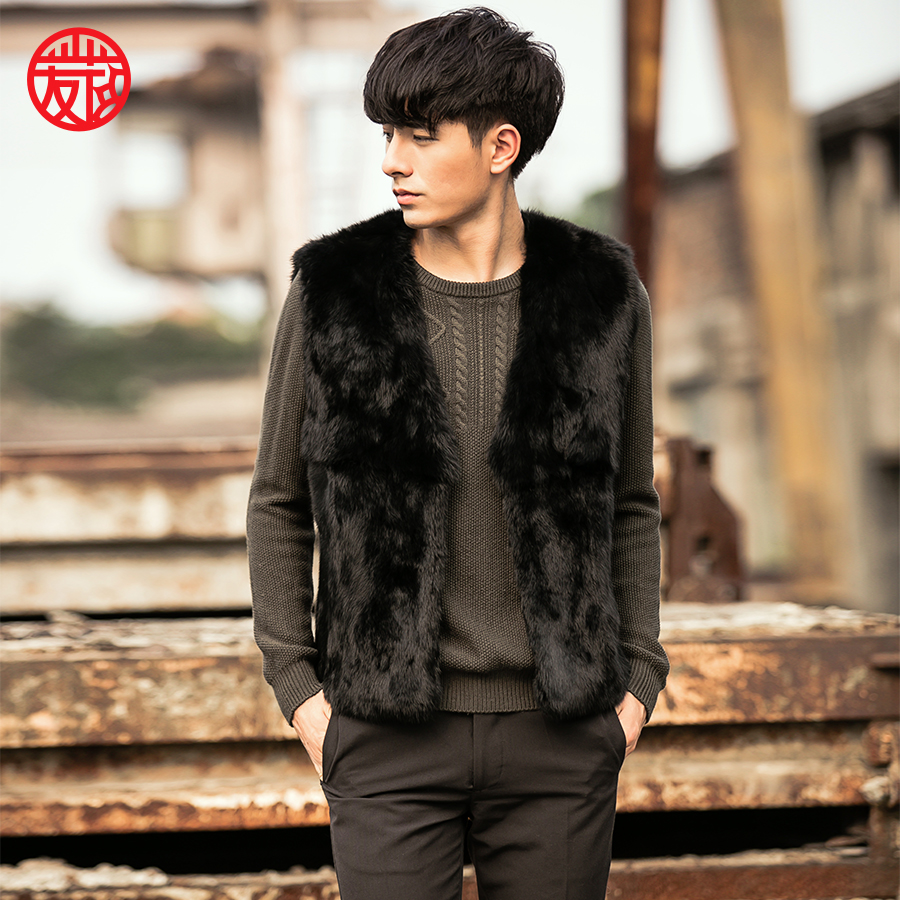 2018 new design hot sale fashion winter mens real rabbit fur vest with sleeveless
