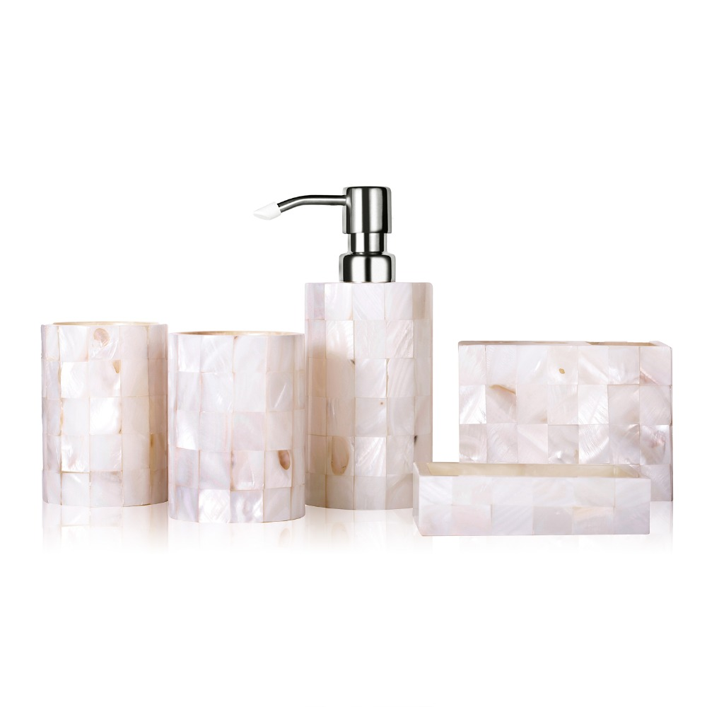 5pcs homestia pearl floral resin bathroom set lotion for Floral bath accessories