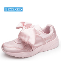 Bexzxed Women Bow Sneakers Popular Satin Bowknot Running Shoes Cushioning Support Sports Shoes Bowknot Sneakers Women