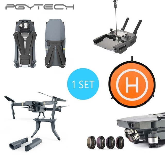 PGYTECH 1 Set Landing Pad 4pc Lens Filter Remote Controller Clasp Landing Gear Leg Propeller Motor Hood for DJI Mavic Pro travel aluminum blue dji mavic pro storage bag case box suitcase for drone battery remote controller accessories