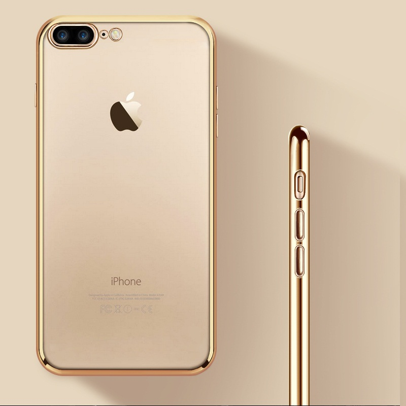 For iPhone 8 Plus Case Luxury Gold Plating Soft Silicone gel Case For iPhone X XR XS Max 7 Plus 6S 6 Cover Fundas Capa Coque