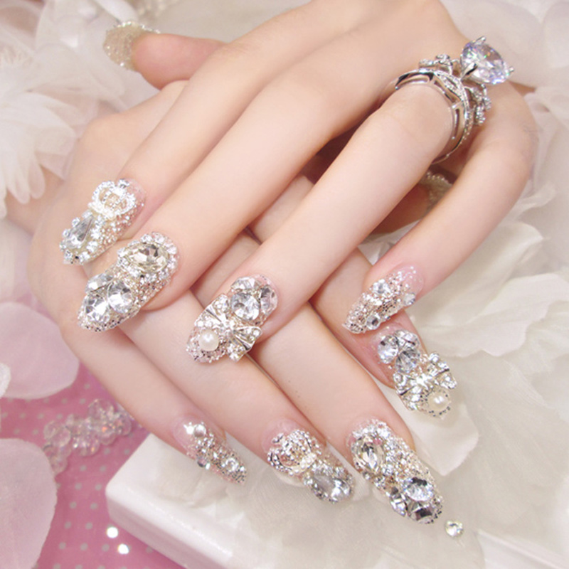 2019 Hot sale 24 Pcs 3D Bling Nail Patch Art Jewelry Glitter Rhinestone Pearl Decor Tips