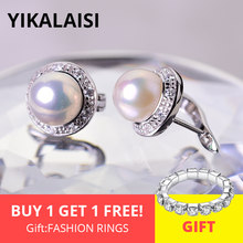 YIKALAISI 925 Sterling Silver Jewelry Pearl Earrings 2018 fashion Natural Pearl jewelry 8-9mm stud Earrings For Women wholesale(China)