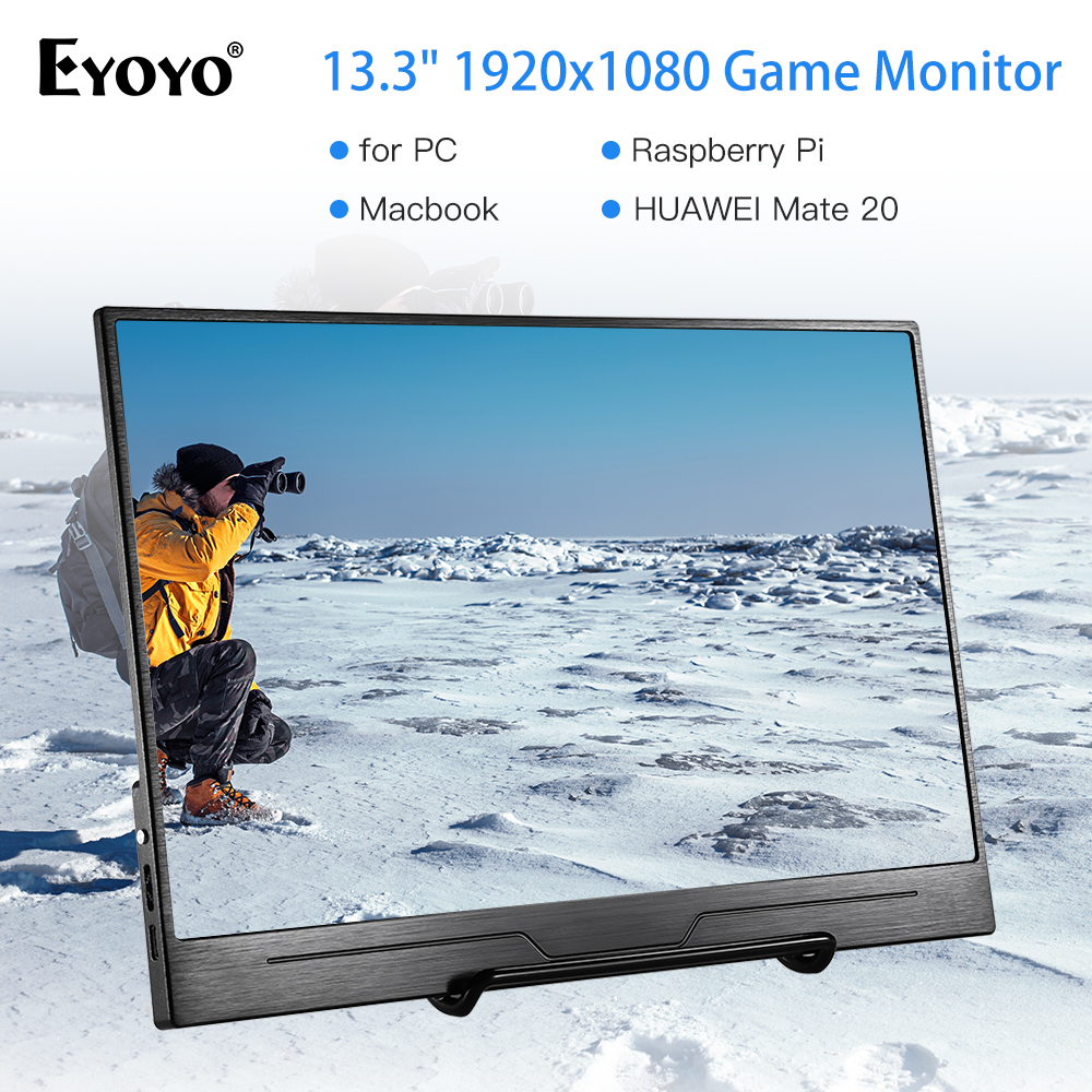 "Eyoyo 13.3"" EM13N LCD Portable 1920x1080 IPS Gaming Monitor compatible for Game Consoles PS3 Switch USB PC Screen hdmi display"