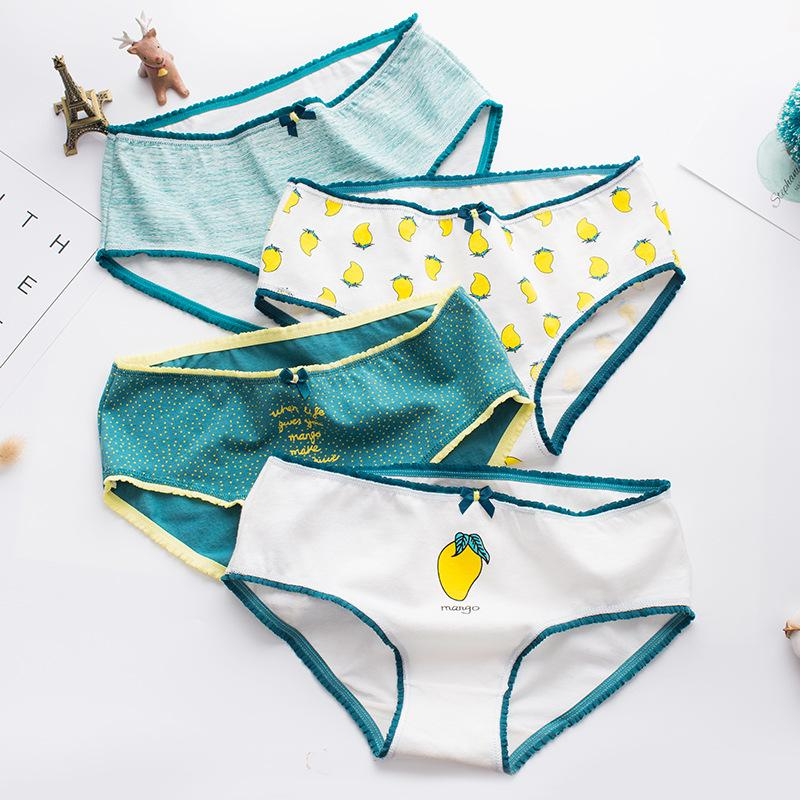 Lovely Girls Cotton Fruit Panties Women Briefs Multicolor Soft Lingerie Low-rise Underwear