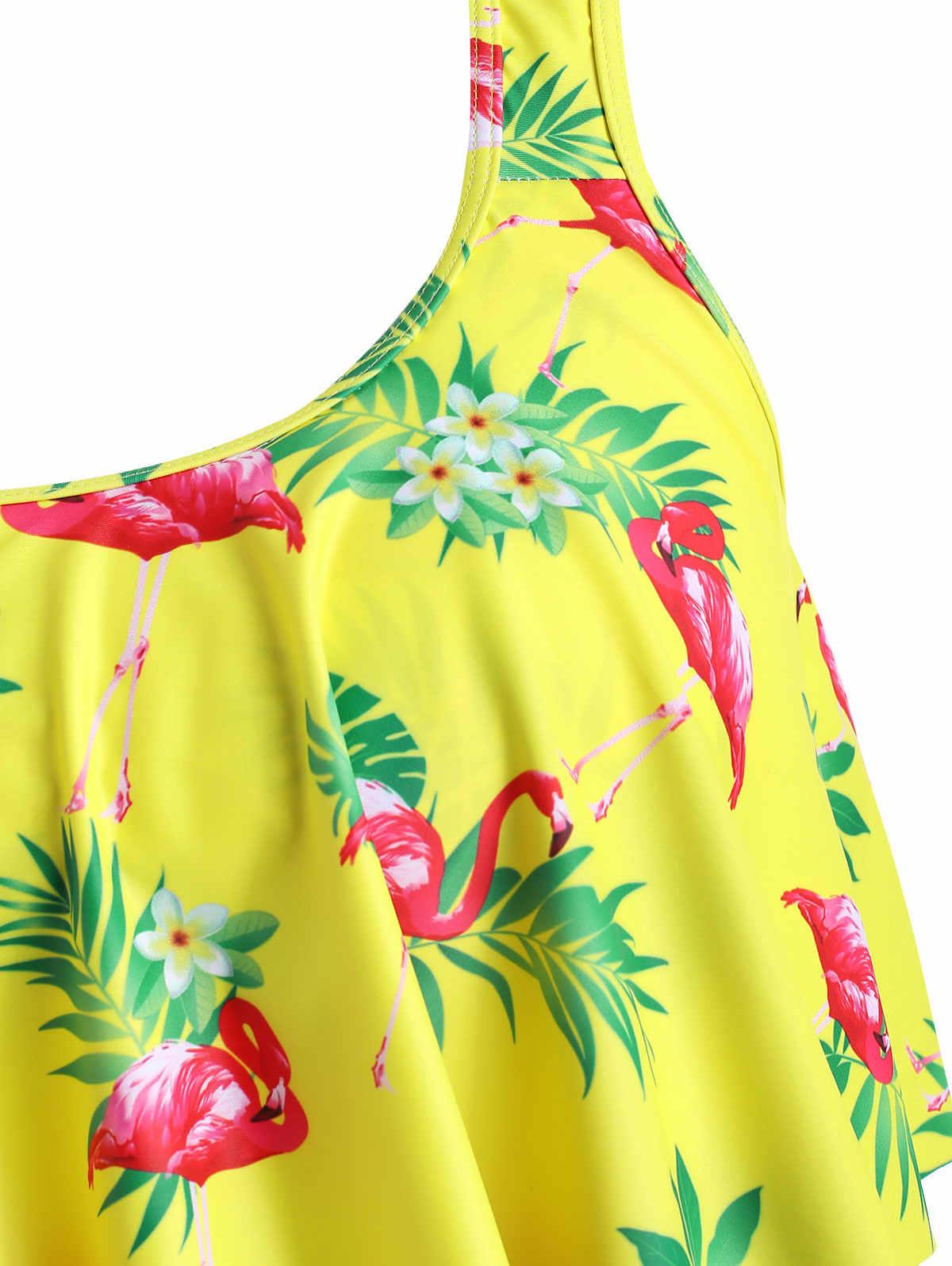 Wipalo Бикини Лето плюс размер гофрированный Фламинго Танкини с принтом набор женщин высокая посадка совок шеи купальный костюм из двух предметов пляжные купальники