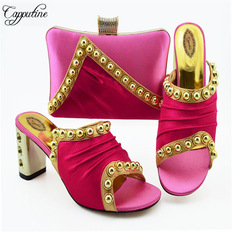 Fashion African Gold Color Shoes And Bag Sets For Party New Italian Style Decorated With Bead