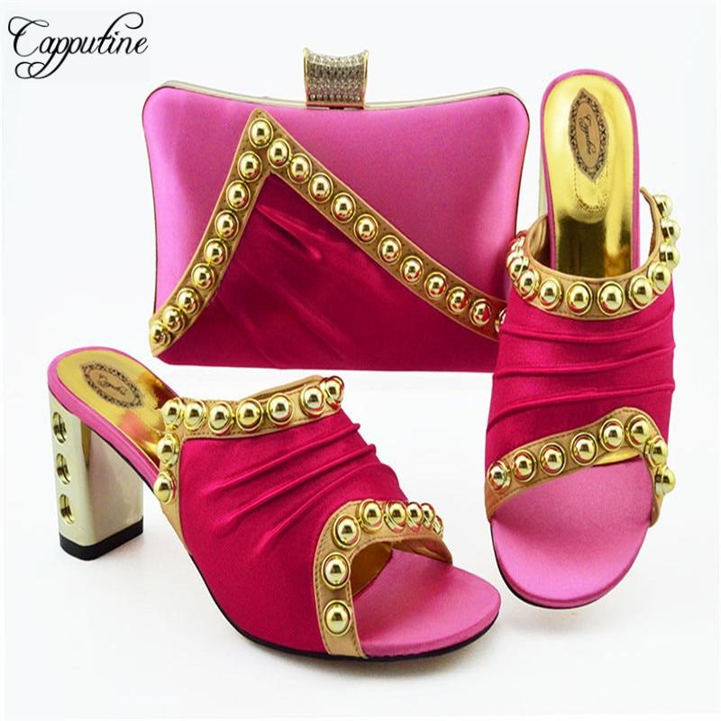 Zapatos de Color oro africano de moda y conjuntos de bolsos para fiesta nuevo estilo italiano decorado con zapatos de cuentas y bolsa a juego conjunto de M1090-in Zapatos de tacón de mujer from zapatos    1