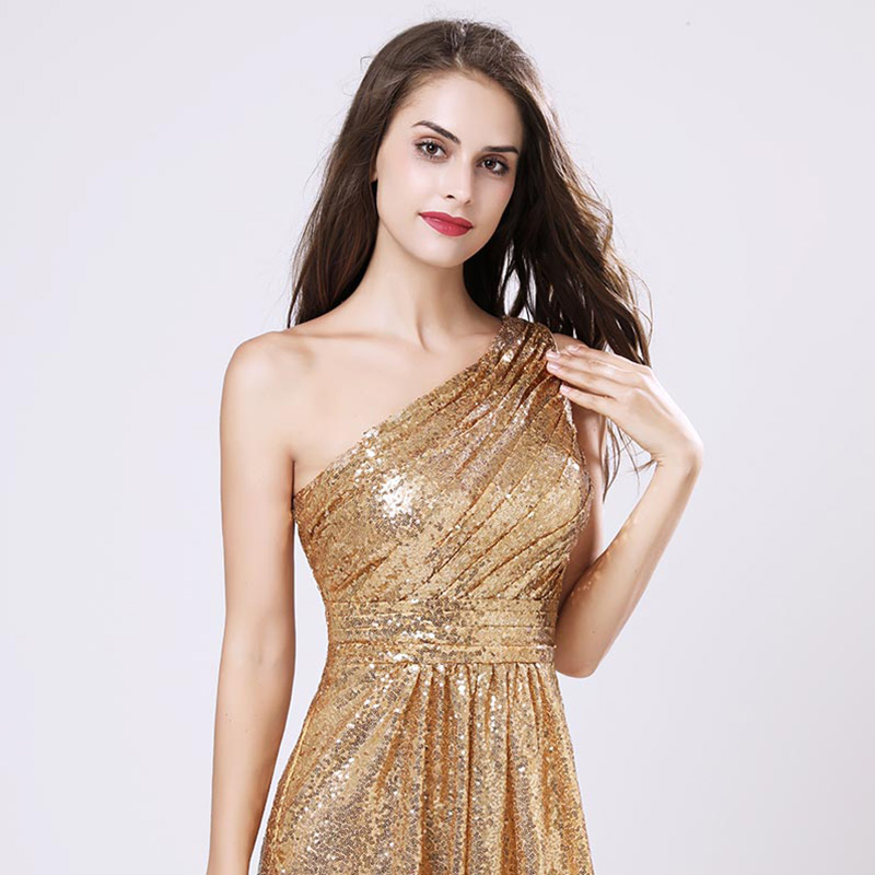 One Shoulder Gold Sequin A Line Maid Of Honor Bridesmaid Dress
